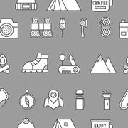 Camping, travel seamless pattern with thin line icon style, flat design Piirros