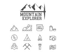 Camping mountain explorer camp badge, logo template. Travel, hiking, climbing Piirros