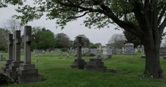 Stock Video Footage of Cemetary View of 3 Crosses