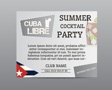 Summer cocktail party poster layout template with Cuba flag and Cuba Libre - stock illustration