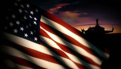 US Military Helicopter Flag Stock Footage