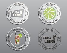Summer cocktail party badges, labels and logo layout templates with Cuba Libre - stock illustration