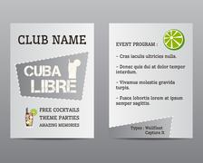 Summer cocktail party flyer invitation template with Cuba Libre cocktail and - stock illustration
