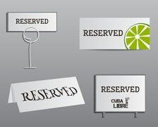 Stock Illustration of Reservation sign mock up template. Summer cocktail party with Cuba Libre