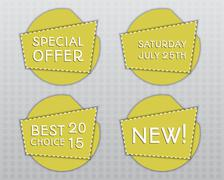 Special offer stickers. Yellow flat design template with shadow. Unusual concept Stock Illustration