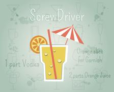 Screw Driver Cocktail banner and poster template with ingredients. Summer - stock illustration