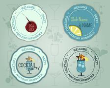 Summer cocktail party badge and logo layout template with blue lagoon cocktail - stock illustration