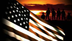 Military Soldiers behind US Waving Flag Stock Footage