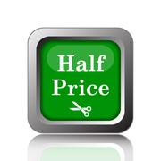 Stock Illustration of Half price icon. Internet button on black background..