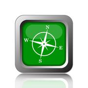 Compass icon. Internet button on black background.. - stock illustration