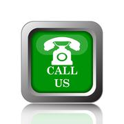Call us icon. Internet button on black background.. - stock illustration