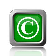 Copyright icon. Internet button on black background.. - stock illustration