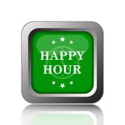 Stock Illustration of Happy hour icon. Internet button on black background..