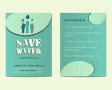Stock Illustration of Save water conference flyer and poster invitation template with drops and hands