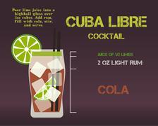 Cuba Libre cocktail recipe and preparation description concept. Modern design - stock illustration