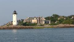 Lighthouse, Annisquam Harbor Gloucester, Ipswich bay Stock Footage