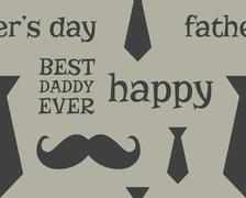 Father s day greeting seamless pattern template. Mustache and tie. Unusual funny - stock illustration