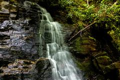 juney whank water falls in great smoky mountains - stock photo