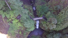 4K Moving aerial shot of Multnomah Falls in Portland Oregon Stock Footage