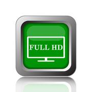 Stock Illustration of Full HD icon. Internet button on black background..