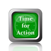 Stock Illustration of Time for action icon. Internet button on black background..