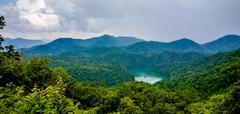 beautiful aerial scenery over lake fontana in great smoky mountains - stock photo