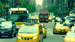 Heavy street traffic busy rush hour Manhattan commuting cars NYC June 2015 day Stock Footage
