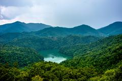 Beautiful aerial scenery over lake fontana in great smoky mountains Stock Photos