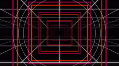 Retro Neon Grid Squares and Circle Pop Loop - stock footage
