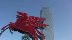 Pegasus Horse Next To Skyscraper In Dallas Texas Stock Footage