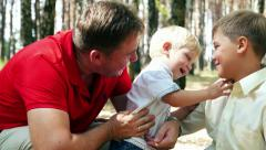 Two brothers - teen and kid baby with father, love and harmony in family Stock Footage