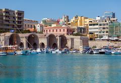 Fishing Boats and Arsenal, Heraklion, Crete, Greece - stock photo