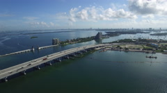 Aerial Macarthur Causeway and Venetian Stock Footage