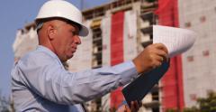 Engineer Man Check Folder Notes Verify Information Prospect Plan Design Document Stock Footage
