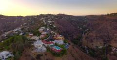 Aerial view of Mount Olympus neighborhood Hollywood Hills Los Angeles California Stock Footage