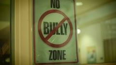 "Sign that says ""No Bully Zone"" Stock Footage"