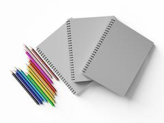 Notebook with colored pencils on White background Stock Illustration