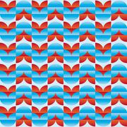 Pattern with red and blue stylized flowers relief effect - stock illustration
