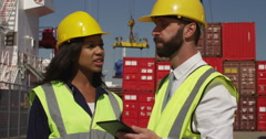 Businessman and female inspector discuss logistics at a busy shipyard. Shot on R Stock Footage