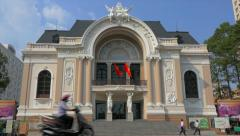 Traffic in front of Saigon Opera House (Ho Chi Minh Municipal Theater)speedlapse Stock Footage