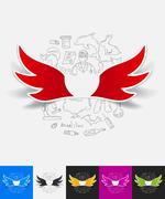 Stock Illustration of wing paper sticker with hand drawn elements