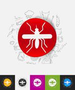 mosquito paper sticker with hand drawn elements - stock illustration