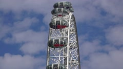 Close up view (in 4k) of pods on the London Eye, London, UK. Stock Footage