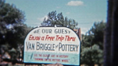 Stock Video Footage of 1955: Van Briggle Pottery Factory entrance and sign.