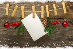 Christmas background with snowflakes on wood Stock Photos