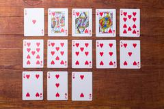 Hearts Set of playing cards Stock Photos