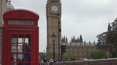 London View Red Phone Booth Tourists Sidewalk Big Ben Westminster Palace Street  Stock Footage