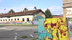 graffiti on old buildings in Sarajevo - stock footage