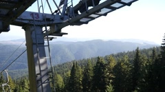Aerial beautiful nature view from chair lift in mountains on Rila Lakes park Stock Footage