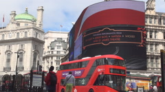 Famous Piccadilly Circus Big Commercial Display Panel Double Deck Buses London  Stock Footage